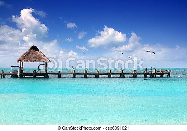 karibisch, sandstrand, tropische,  contoy, Insel,  Pier, Kabine - csp6091021