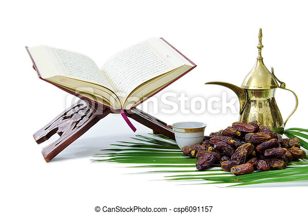 Thge Holy Quran with Dates Fruit and Arabic Coffee Pot - csp6091157