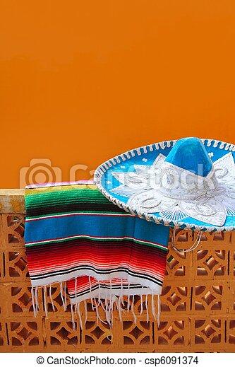 charro mariachi blue mexican hat serape poncho - csp6091374