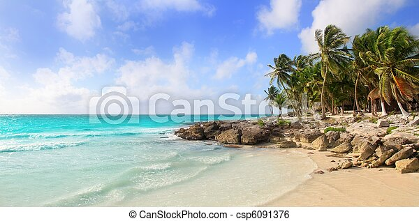 Caribbean Tulum Mexico tropical panoramic beach - csp6091376
