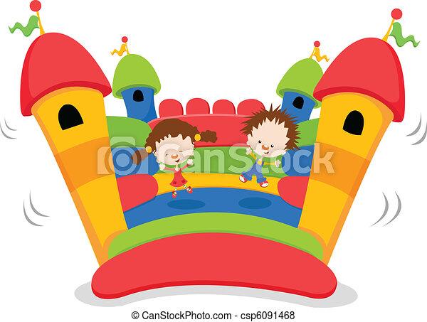 Vector de bouncy castillo ni os saltar en un bouncy - Castillos para ninos de infantil ...