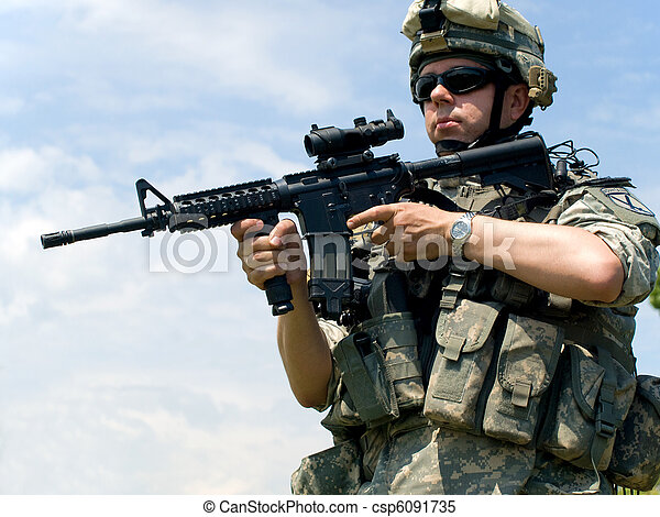 Soldier aiming his rifle - csp6091735
