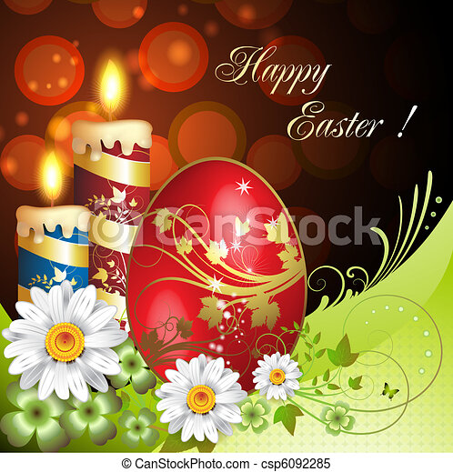 Easter card with flowers - csp6092285