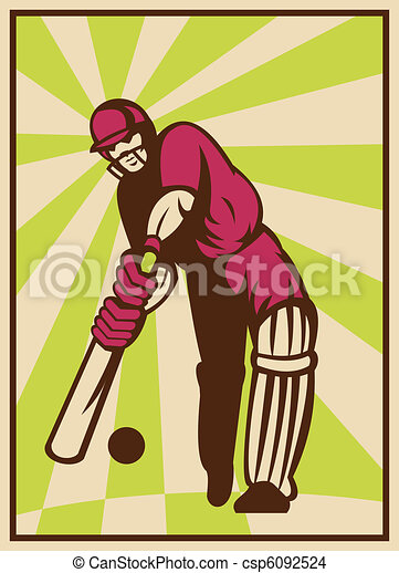 illustration of a cricket player batting ball done in retro style - csp6092524