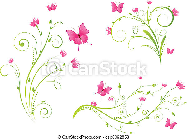 Floral elements and butterflies set - csp6092853