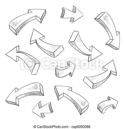 3D arrow sketchy design elements set vector illustration - csp6093066