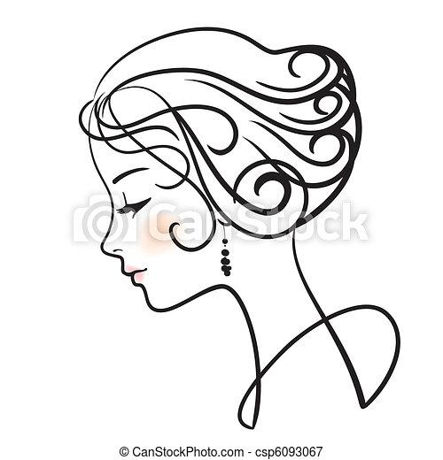 美しい, 女, 顔 - csp6093067