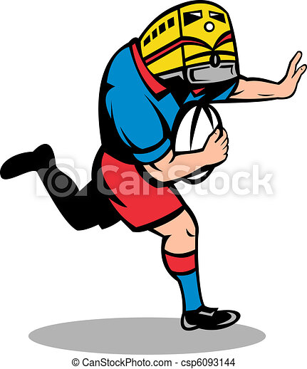 rugby player train mascot running - csp6093144