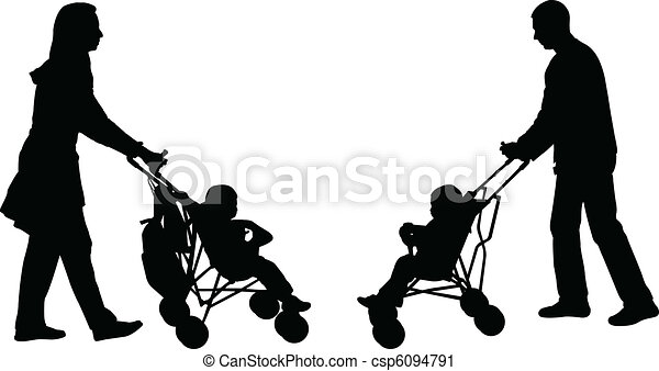 parents pushing strollers - csp6094791