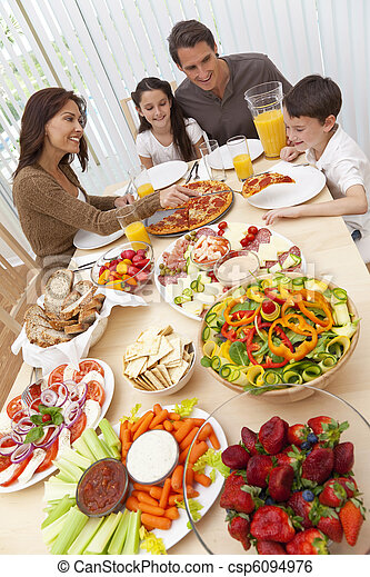 Parents Children Family Eating Pizza & Salad At Dining Table  - csp6094976