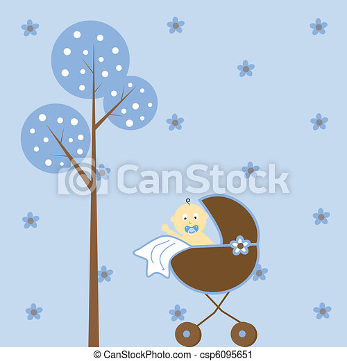 Baby Boy in Stroller - csp6095651
