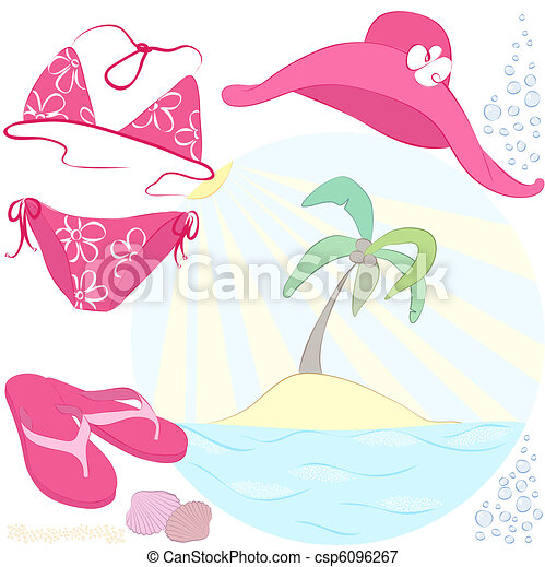 summer vacations accessories related to the beach activities and - csp6096267