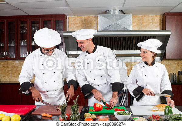 professional chefs cooking - csp6096274