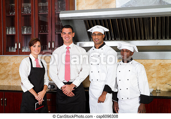 restaurant staff in kitchen - csp6096308