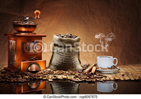 coffee accessories on mat - csp6097875
