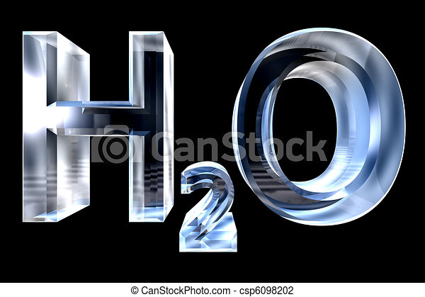 H2O - water chemical symbol - in glass 3d made  - csp6098202