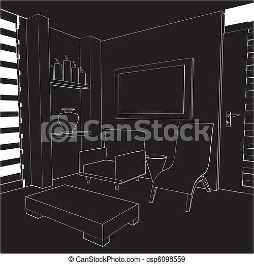 Modern Living Room Interior  - csp6098559