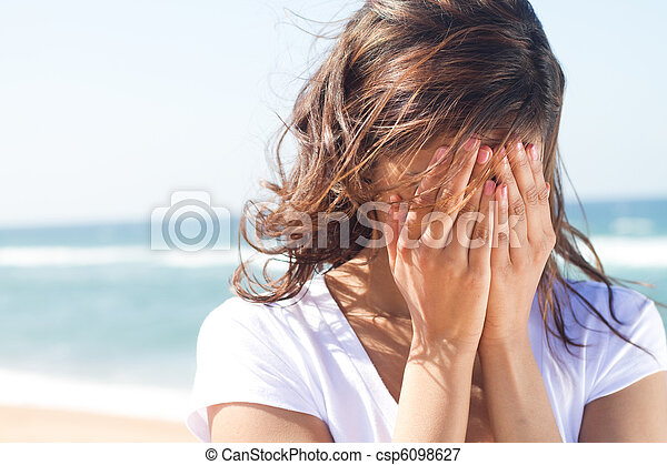 young woman cover her face - csp6098627