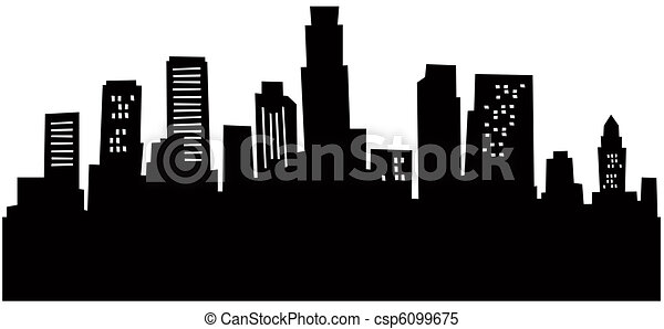 Cartoon Los Angeles Skyline - csp6099675