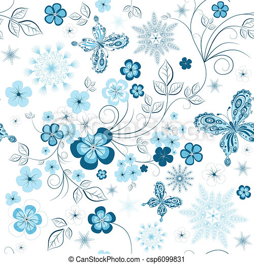 Repeating winter floral pattern - csp6099831
