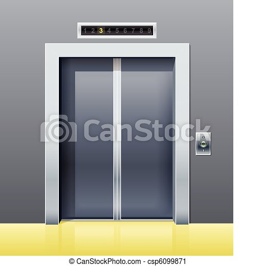 elevator with closed door - csp6099871