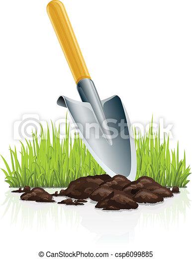 garden scoop and grass - csp6099885