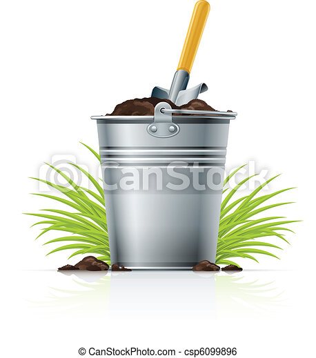 metallic bucket with ground and shovel - csp6099896