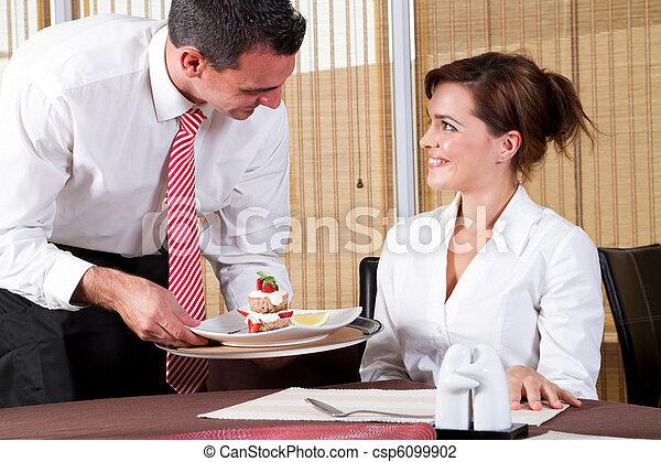 friendly waiter and customer - csp6099902