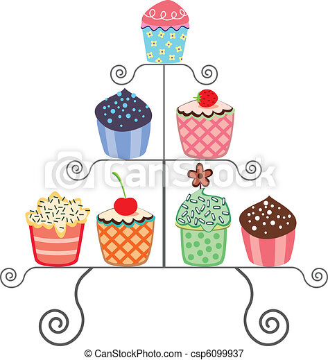 cupcakes on a stand - csp6099937