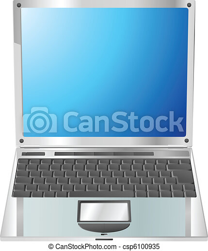 Laptop straight on illustration - csp6100935