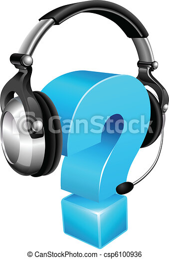 Question mark wearing headset - csp6100936
