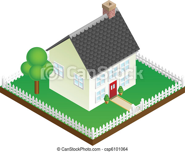 Quaint house with picket fence isometric view - csp6101064