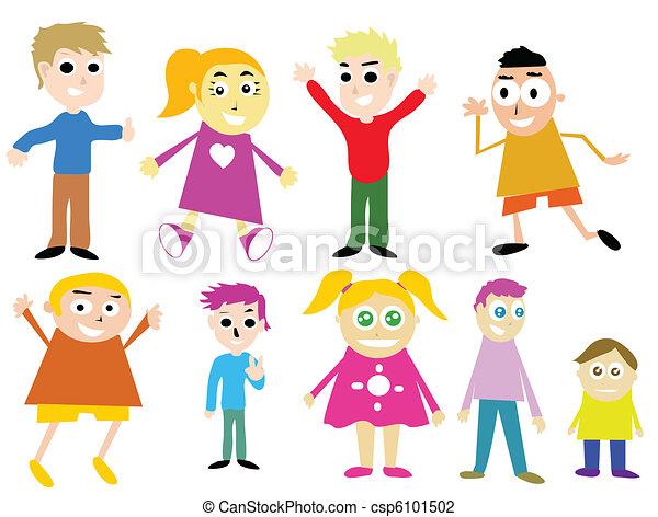 crianças, caricatura - csp6101502