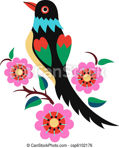 chinese oriental bird tree - csp6102176