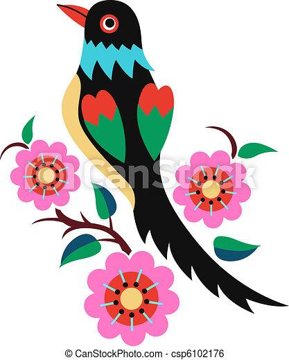 chinese oriental bird tree  - csp6102176