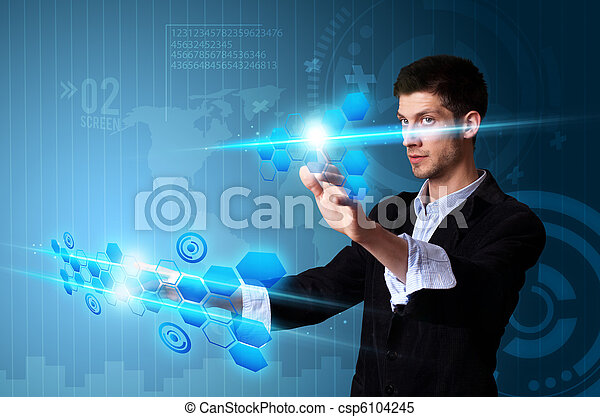 Man pressing modern touch screen buttons with a blue technology background - csp6104245
