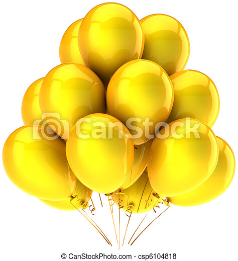 Yellow party balloons sunny emotion - csp6104818