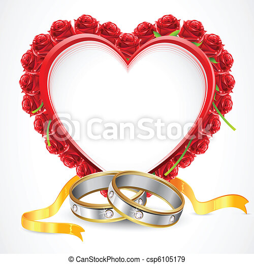 Pair of Rings with Rose Heart - csp6105179