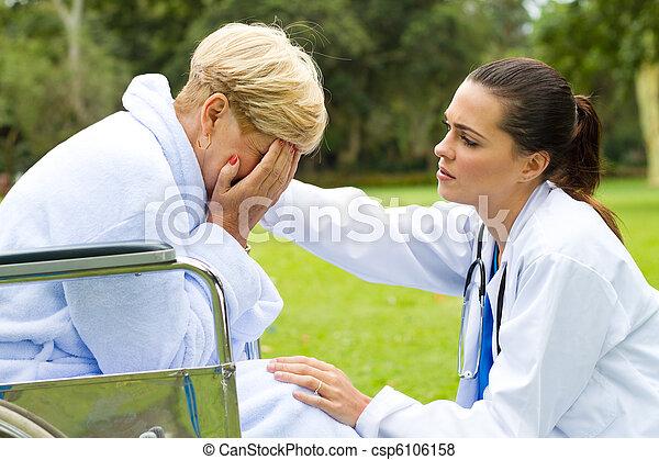 female doctor comforting patient - csp6106158
