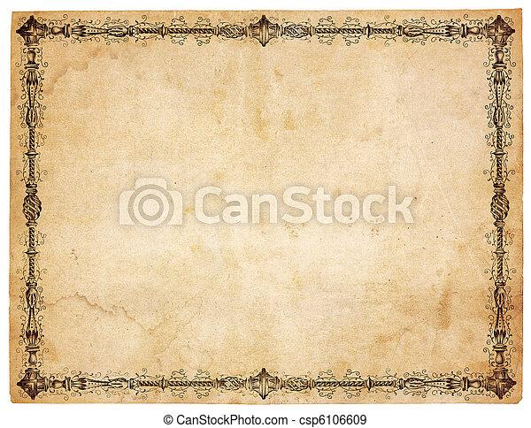 antikvitet, viktorian, papper, gräns, tom - csp6106609