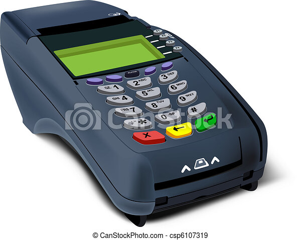 Photorealistic illustration of POS-terminal - csp6107319