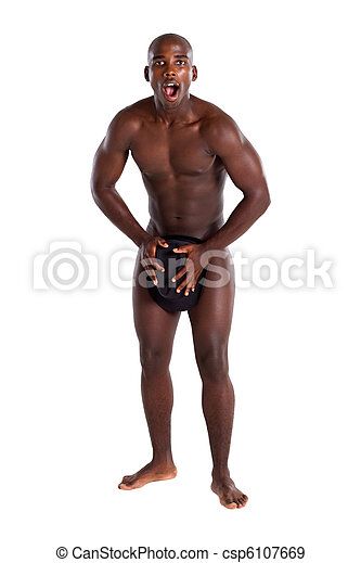 surprised naked african naked man - csp6107669