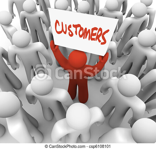 Person Holding Customers Sign in Crowd - csp6108101