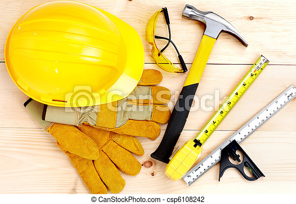 Tools.  Hammer and ruler - csp6108242