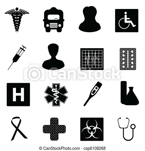 Medical and healthcare symbols - csp6108268