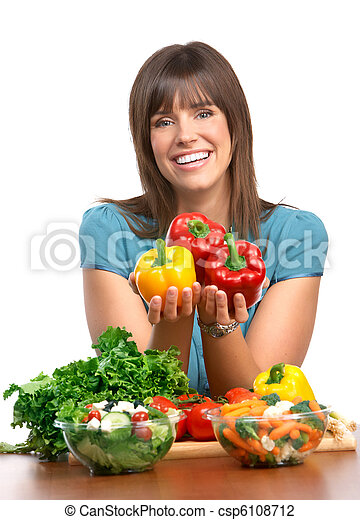 Woman, vegetables and fruits - csp6108712
