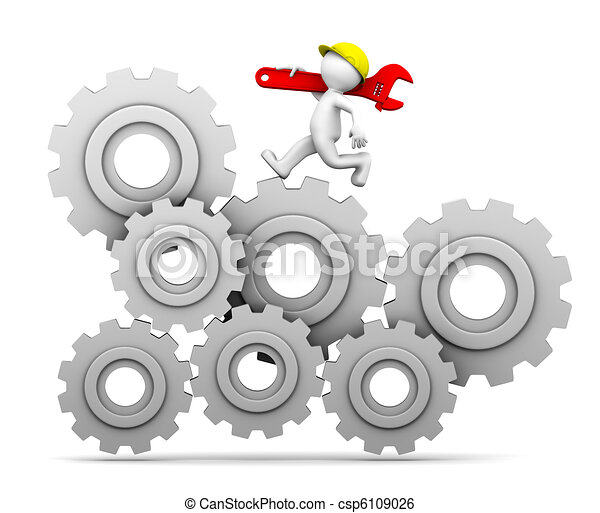 Industrial worker running up a gear mechanism - csp6109026