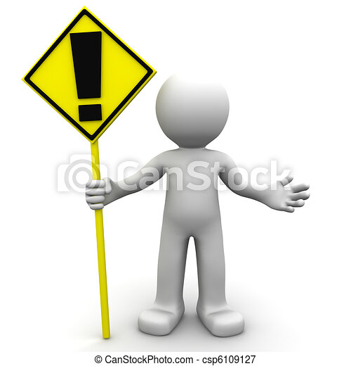 3d character with yellow ALERT sign - csp6109127