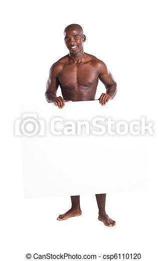 desnudo, africano, tabla, tenencia, hombre - csp6110120