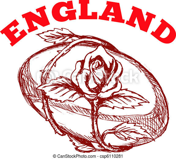 main, sketched, dessin, Illustration, rugby, balle, rose, fleur, vigne ...
